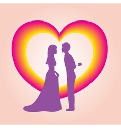 The image of heart and two people vector image vector image