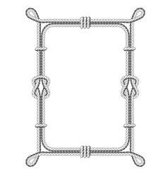 twisted rope square frames with knots and loops vector image vector image
