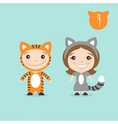 Two happy cute kids characters boy in tiger vector