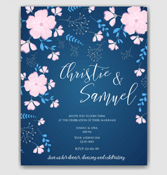 wedding invitation flowers template vector image vector image