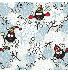 winter birds vector image vector image