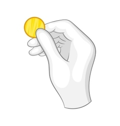 Hand in a white glove holding a gold coin icon vector