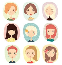 girls set portraits vector image