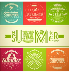 Set of summer vacation and holidays emblems vector image