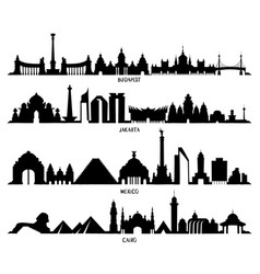 Skyline with historic architecture mexico vector