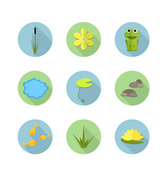 Cartoon garden pond icons with water vector