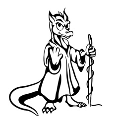 black and white lizard vector image