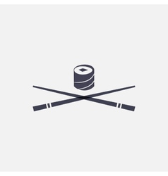 Sushi and chopsticks icon vector
