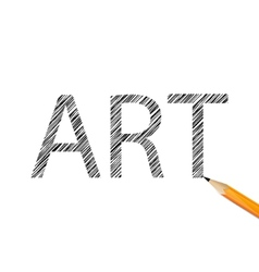 Art word drawn with graphite pencil vector