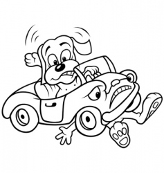 Dog and car crash vector