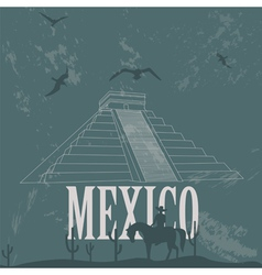 Mexico landmarks retro styled image vector