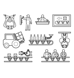 Industrial and manufacturing process icons set in vector