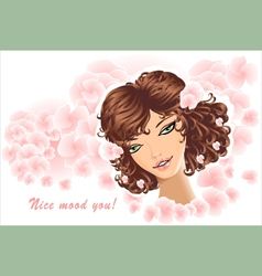 Beautiful girl on floral background vector
