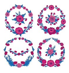 Flowers set floral frames greeting cards decor vector