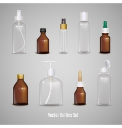 Set of transparent realistic bottles vector