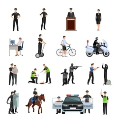 Police people flat color icons set vector