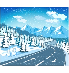 Mountain landscape in winter vector