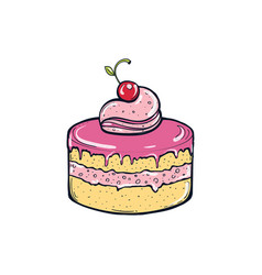 cake with berries vector image vector image