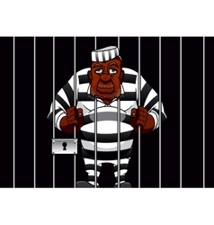 Cartoon prisoner behind bars in the prison vector