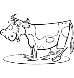 coloring page of funny farm cow vector image vector image
