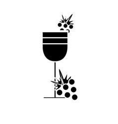Contour wine glass with grape fruit vector