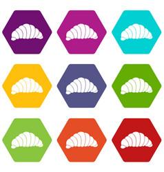 croissant icon set color hexahedron vector image