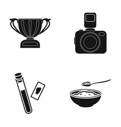 Cup camera and other web icon in black style vector
