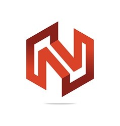 Design symbol hexa n red grafic vector