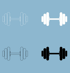 dumbbell the black and white color icon vector image vector image