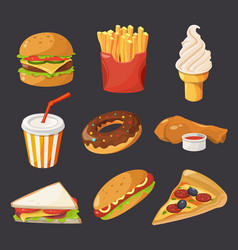 Fast food in cartoon style pictures vector