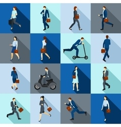 Go working people icons set vector