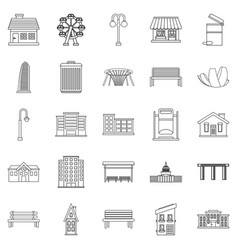 Interesting places icons set outline style vector