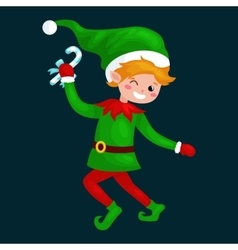 Jumping christmas elf isolated with sweets in a vector