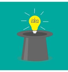 Light bulb in magic hat Idea concept Flat design s vector image