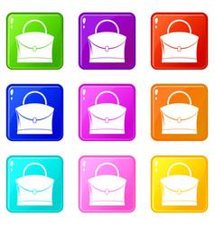 Little woman bag icons 9 set vector