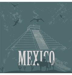 Mexico landmarks retro styled image vector