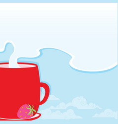 Morning cup with a hot drink on the background of vector