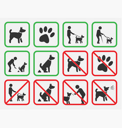 no dogs signs dogs allowed and prohibited icons vector image vector image
