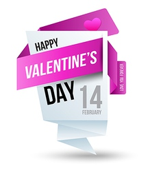 Origami banners Happy Valentines Day vector image vector image