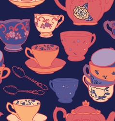 seamless pattern with teapots and teacups vector image