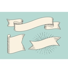 Set of old vintage ribbon banners in engraving vector