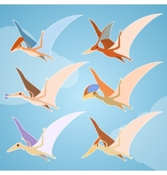 Set of pterosaurs vector image