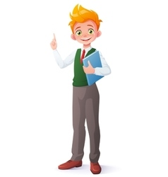 Smart school boy index finger pointing up vector