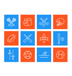 Sports and games icons linear style vector