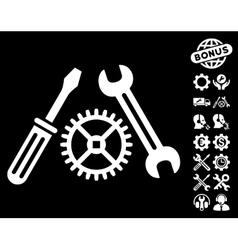 Tuning service icon with tools bonus vector