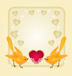 Valentines frame heart and gold birds vector image