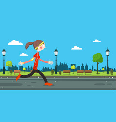Woman running on road in city park vector