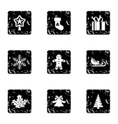 Xmas icons set grunge style vector