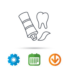 toothpaste icon teeth health care sign vector image