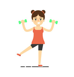 Happy athletic girl doing exercise with dumbbells vector